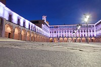 Hight square of Badajoz, illuminated by led lights at twilight. Low angle view from the floor.