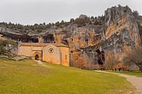 San Bartolomé Hermitage, 13th century, Romanesque Style, Style, Cañón del Río Lobos Natural Park, Special Protection Area, Soria, Castilla y León, Spa...