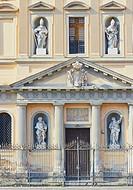 Facade of Santa Croce e Purgatorio al Mercato church, closed since the 1980 earthquake, Piazza Mercato, Naples, Campania, Italy, Europe.