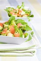 Salad of lettuce, avocado and smoked salmon.