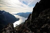 Norway, Nordland, Lofoten islands, Austvagoy island, view of Austnesfjord from the summit of Geitgaljartind (1085m).