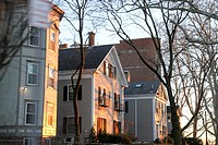 Residential buildings in the sunlight, near Boston, Massachusetts, United States, North america.