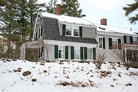 Winter view of a home in Jaffrey Center, Jaffrey, New Hampshire, United States, North America. Editorial use only.