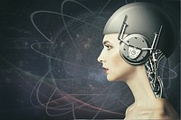 Cyborg woman, abstract science and technology backgrounds.