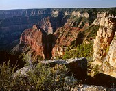 USA, Arizona, Grand Canyon National Park, North Rim, View south from Point Imperial towards canyon depths and flat topped Walhalla Plateau.