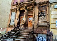 Harlem, New York City, USA. Closed down former crack house in a Harlem Neighborhood.