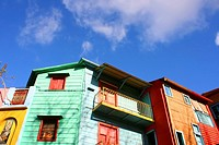 """Historical buildings in the famous Neighborhood of """"""""La Boca"""""""" in Buenos Aires, Argentina."""