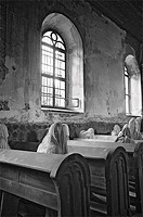 Ghost Mourners, St. George´s ghost church, art installation, Luková, Bohemia, Czech Republic