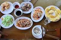 Selection of Vietnamese food, Halong Bay, Vietnam, Asia.