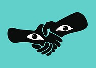 Handshake with eyes in the wrists, watching the viewer.