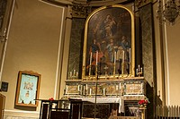 Acireale - Sicily, Italy: Church altar with a painting of the Nativity.