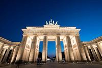 Brandenburg Gate in the evening in Berlin Germany.