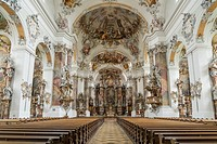 interior of the Basilica, Ottobeuren Abbey, Allgäu, Bavaria, Germany.