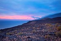 Spain, Canary Islands, El Hierro. Volcanic landscape near La Restinga.
