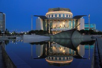 Hungary, Budapest, National Theatre, modern architecture, night,.