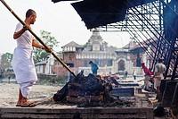 Hindu cremation at Pashupatinath, Kathmandu, Nepal.