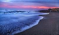 Waves crash along California´s Pacific Ocean Coast near Cambria.