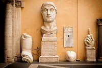 Remains of colossal statue of Roman Emperor Constantine in the courtyard of the Capitoline Museum, Rome.