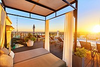 Emperador Hotel rooftop, located at Lope de Vega building in Gran Via street. Madrid. Spain.