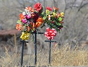 Roadside memorial to automobile accident victims, New Mexico, USA