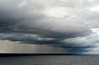 Rain clouds over Baltic Sea, Europe.