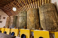 Old oil mill storage room in a traditional andalusian farmhouse. Antequera, Malaga province. Andalusia southern Spain, Europe.