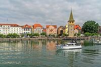 old town, harbour and tower Mangenturm Lindau, Bavaria, Germany.