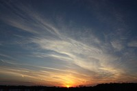 Sunset with cirrus clouds.