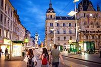 Hauptplatz, at right Town Hall, Graz, Austria.