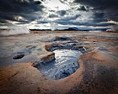 Boiling mud pools in the geothermal Namaskard Volcanic area, Iceland