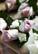 A selection of wedding flowers for the bride and groom.