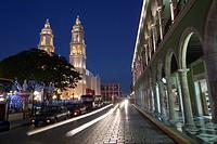 Catedral de Nuestra Senora de la Purisima Concepcion, Cathedral of Campeche at Zocalo in the historical center listed as World Heritage Site by Unesco...