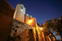 Church in Roussillon by night on September 5, 2013 in Provence France.