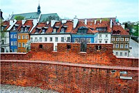 Miedzymurze Jana Zachwatowicza - space between fortified walls called Jan Zachwatowicz name, view for facades of townhouses - Mostowa street, in backg...