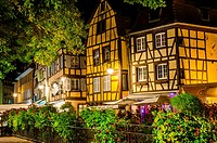 Colmar, scenic picturesque town at night, Alsace, France.