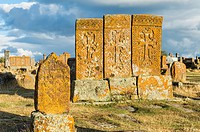 Medieval Khachkars carved memorial stele, Noratus cemetery, Sevan Lake, Gegharkunik province, Armenia, Caucasus, Middle East, Asia.