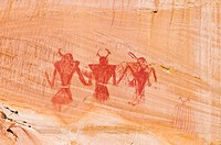 Pictograph panel on canyon wall along Calf Creek, Grand Staircase-Escalante National Monument, Utah USA.