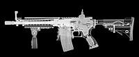 Toy imitation m-16 assault rifle under x-ray.