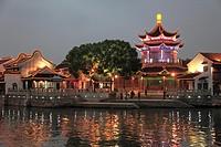 China, Jiangsu, Suzhou, Shantang Old Town, pagoda, old houses, canal scene,.