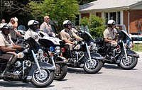 Motorcycle officers in Beltsville, Maryland.