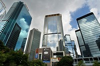 Financial centre of Hong Kong with his moderm skyscrapers. Central Business District, Hong Kong, China.