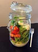 Salad in a jar. A quick and portable healthy lunch in the go.