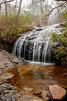 Waterfall in a forest in the winter, The Moss Rock Preserve, Hoover, Alabama USA.
