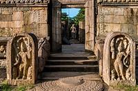 The entrance to the Hatadage with Sandakada pahana, also known as Moon-stone and Nagaraja Guardstone. Ruins of the Hatadage built by King Nissanka Mal...