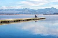 small dock at Lake Henshaw. San Diego County, California, USA.