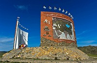 Tourists at the Great Imperial Map Monument, Kharkhorin, Mongolia.
