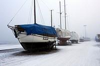 foggy harbour scene, Lappeenranta Finland.