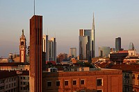 View of Unicredit Tower in Porta Nuova district, Milan, Italy.