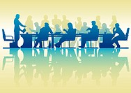 Editable vector silhouette of people in a meeting with reflection