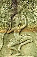 Cambodia, Angkor, Banteay Kdei, buddhist temple, apsara figure,.
